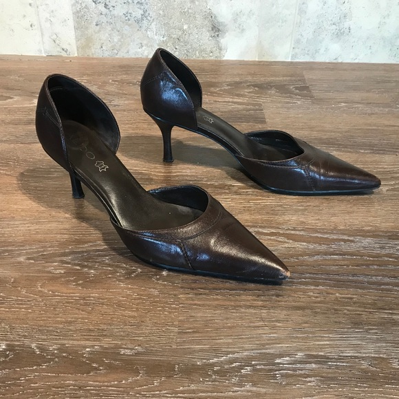 "Aldo ""Vera Cuoio"" Brown Leather Heels, Size 10"